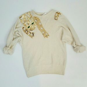 80s vintage gold sequin cheetah sweater Small Med